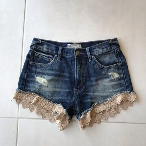 Free People Denim Lace Distressed Shorts